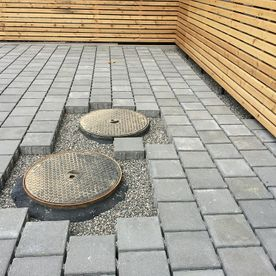 Fitted concrete pavers, cut out - AB Jardin Sarl